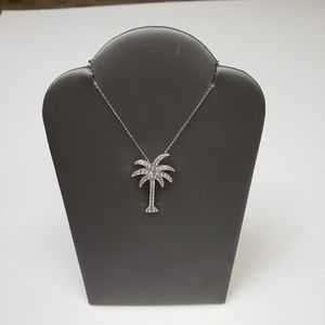 Sterling Silver .925 Crystal Palm Tree Necklace